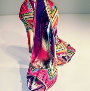 46b81374c4c Alba multi brightly colored heels platforms sz 6.5